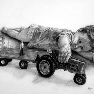 Farm Boys Toys Pencil Drawing