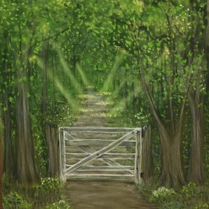 wooden gate leading to illumined path in the woods